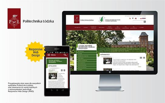 Serwis internetowy Wydziały Politechniki Łódzkiej w Łodzi technologia Responsive Web Design