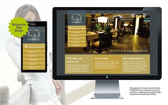 Projekt i wykonanie strony internetowej dla hotelu Polboru, technologia Responsive Web Design